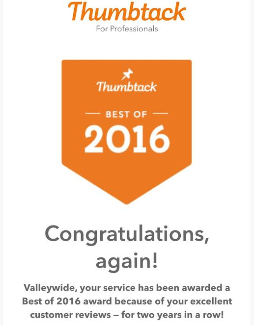 Thumbtack award for Top Glass Company